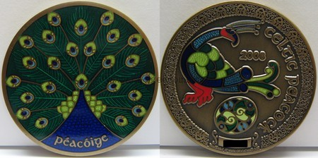 Celtic Peacock Geocoin: front and back