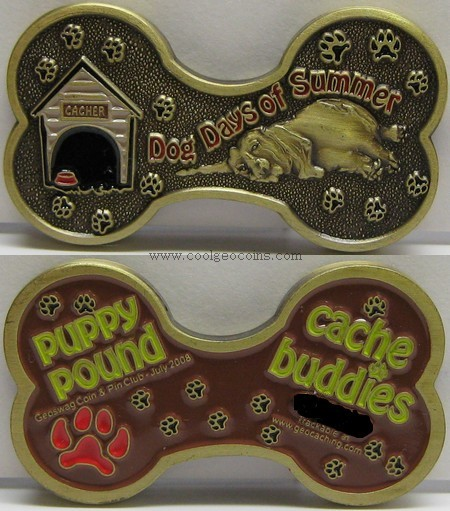 Dog Days of Summer Geocoin: Front and back
