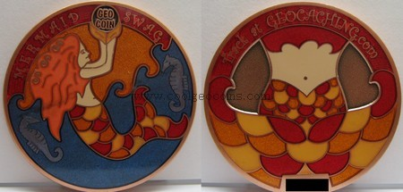 Mermaid Geo Swag Geocoin, front and back