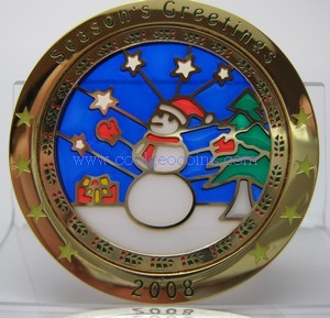 2008 Snowman Suncatcher Geocoin